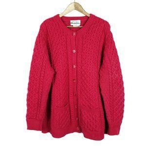 Aran Crafts Merino Wool Red Button Down Cardigan